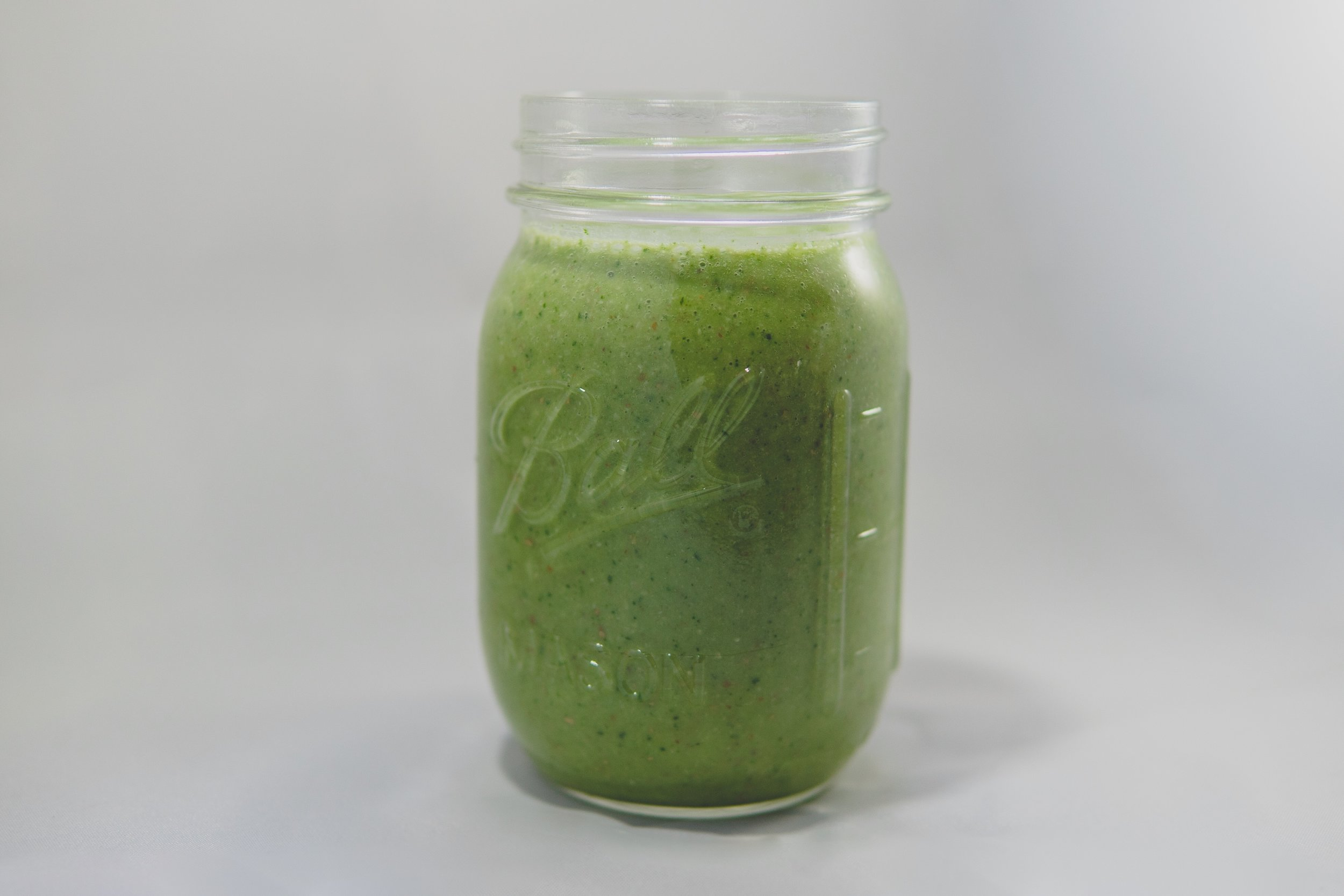 Zen Energy Smoothie - 2 pitted dates1 ripe bananaa handful of almonds1 leaf of kalepinch of dry, flaked, unsweetened coconut2 tablespoons of Maca powder