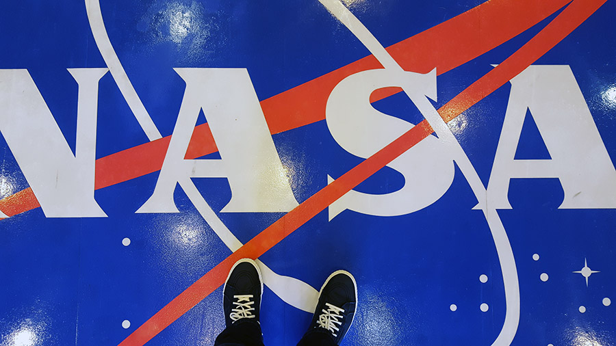Standing in the lobby of the Neil Armstrong Operations and Checkout Building