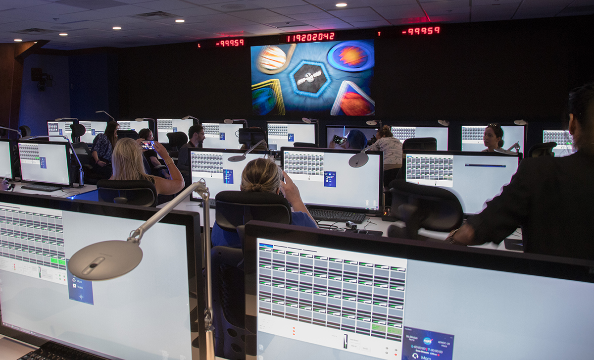 Inside the Launch Services Program's Mission Director's Center located at Hangar AE