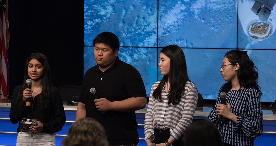 From left, high student Aarthi Vijayakumar, MIT student David Li, and high school students Michelle Sung and Rebecca Li