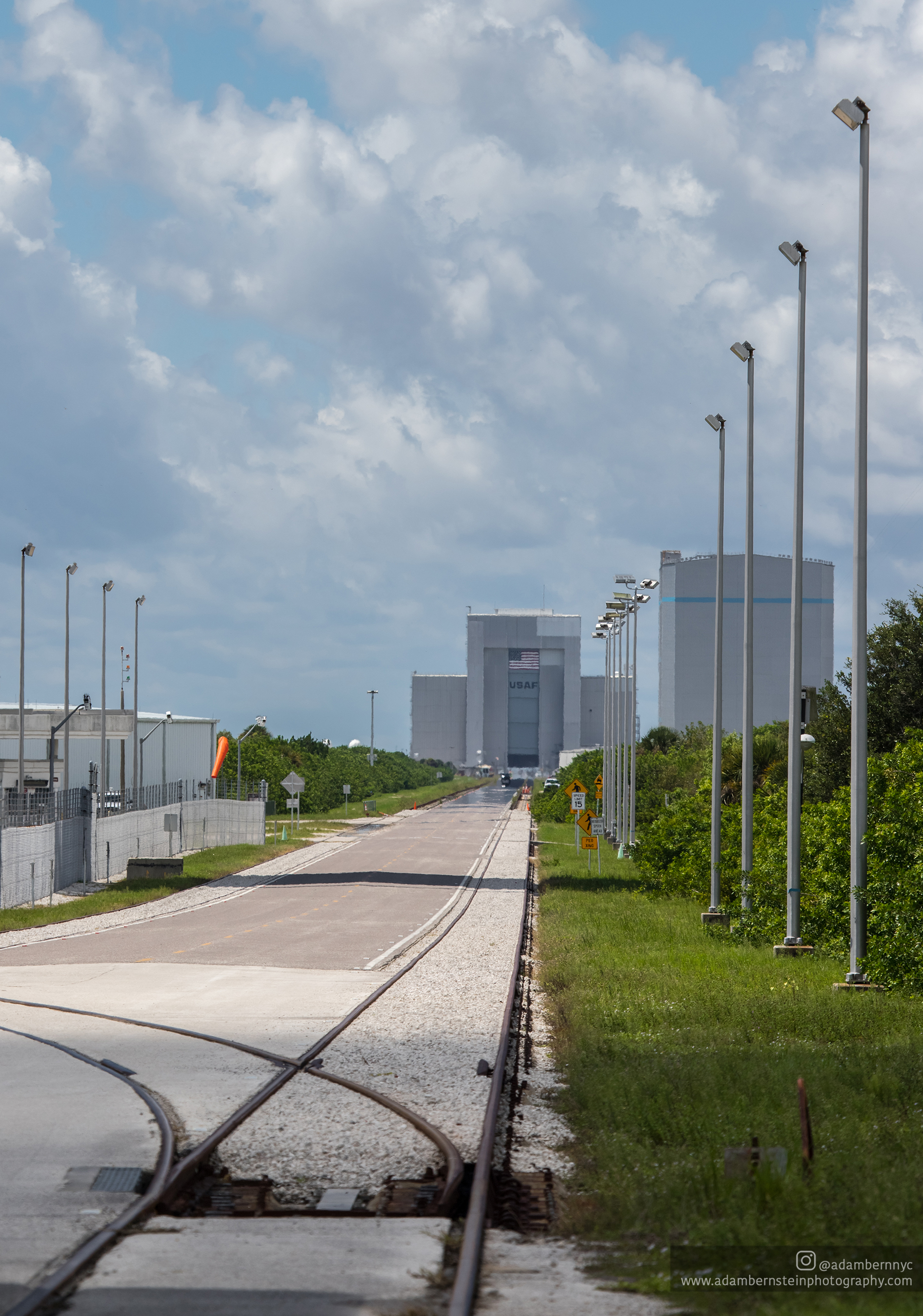 Cape Canaveral Air Force Station's Solid Motor Assembly Building (SMAB) is seen straight down the road from SLC-41.