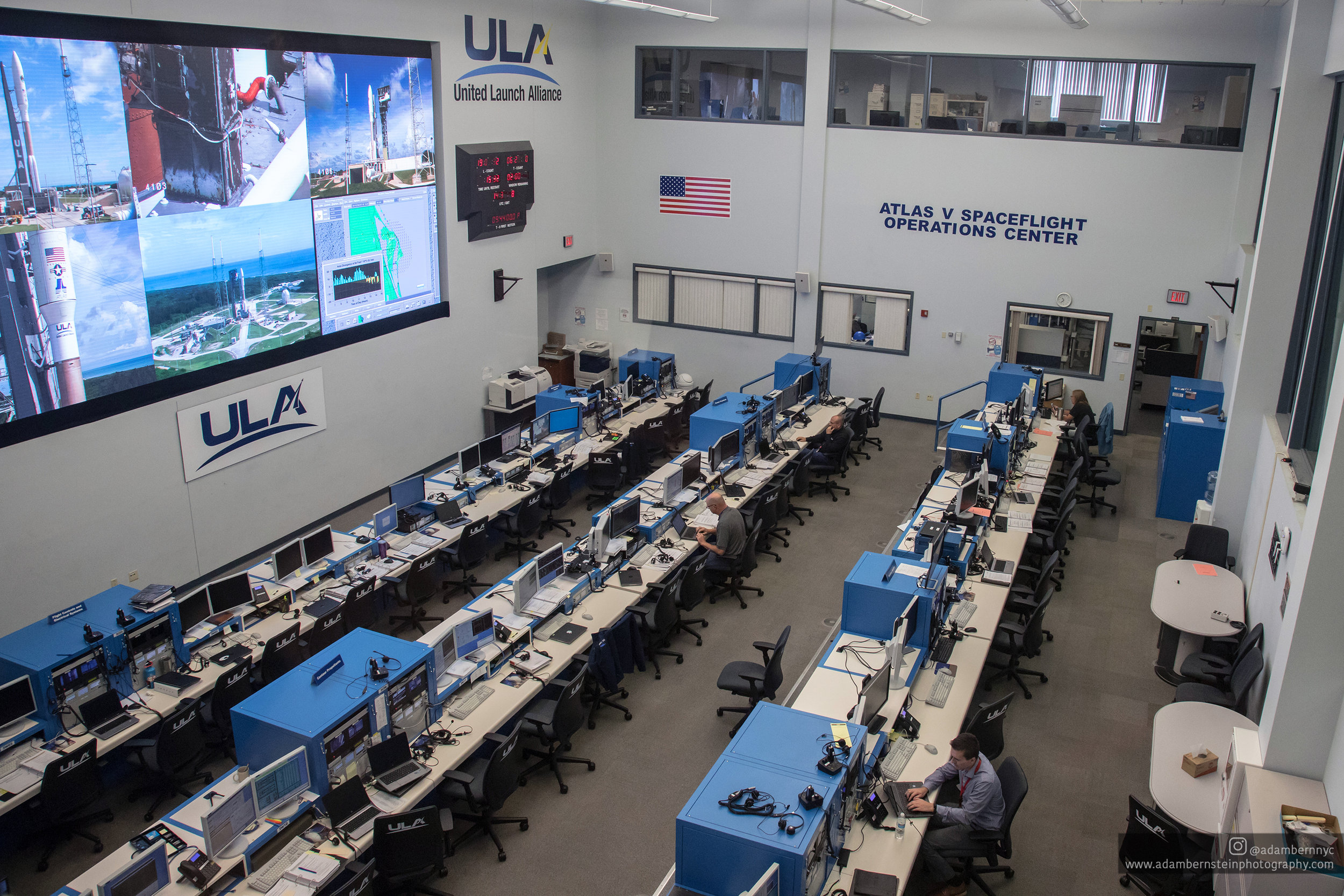 A view of the Atlas Launch Control Center (LCC) located within the Atlas Spaceflight Operations Center.