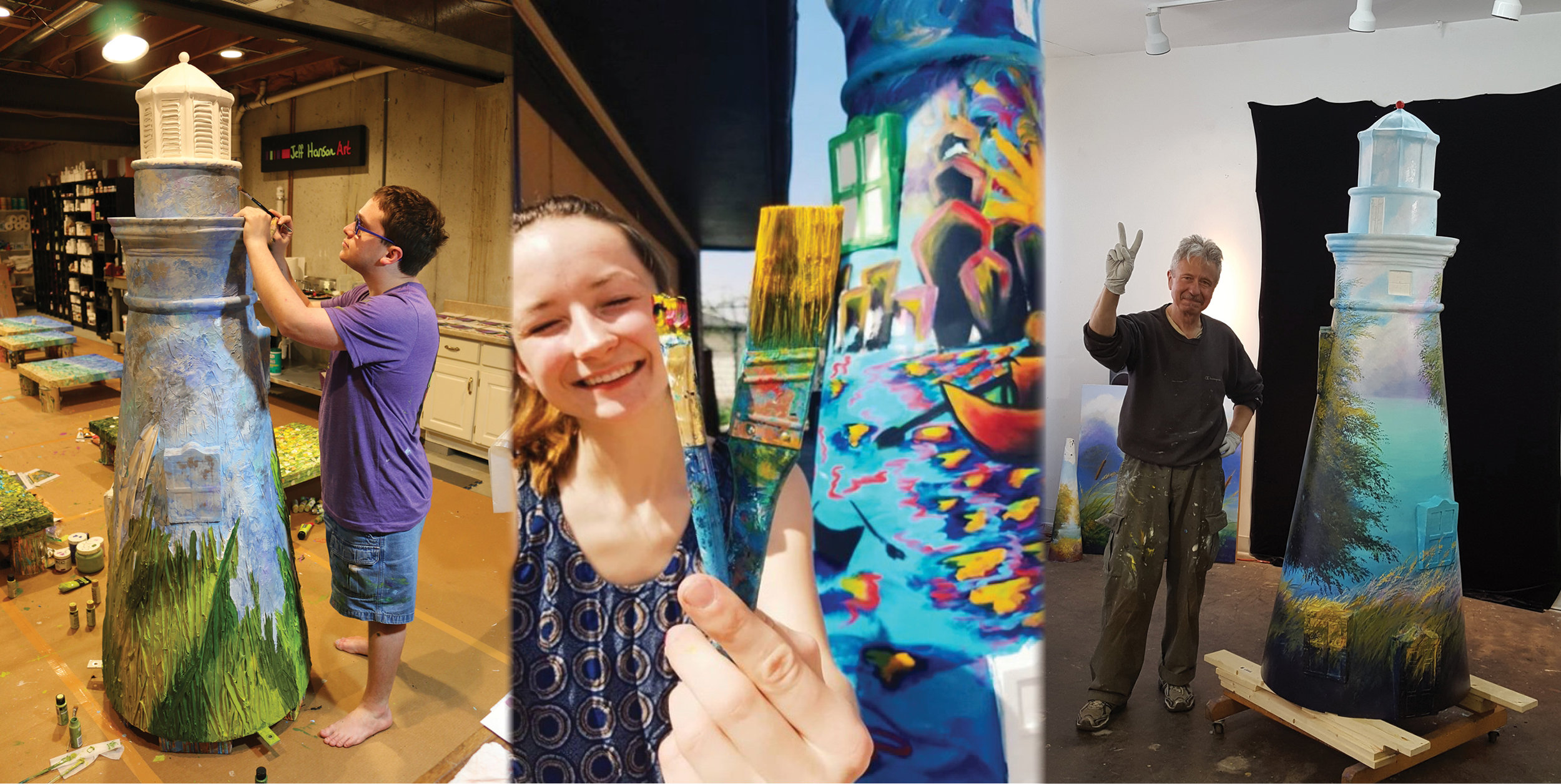 A collage of photos featuring three of the 50 artists, decorating their sculptures.