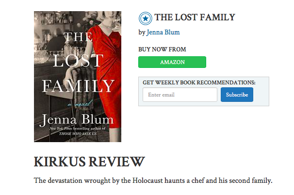 Kirkus Reviews gives The Lost Family starred review - March 2018: The Lost Family receives a coveted starred review from Kirkus, which calls the novel