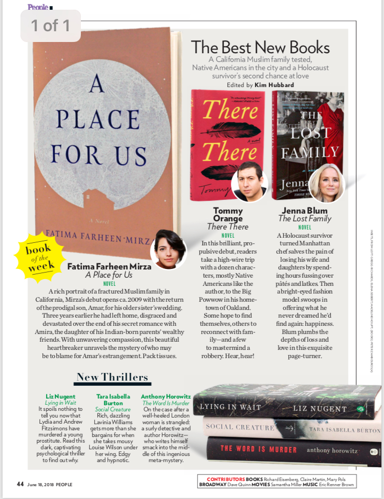 "People Magazine Gives The Lost Family Rave Review in Best New Books Feature - In its Best New Books feature, People says of The Lost Family, ""Blum plumbs the depths of loss and love in this exquisite page-turner."" To view the page, click HERE—and/ or buy the print issue of People at your local newsstand!"