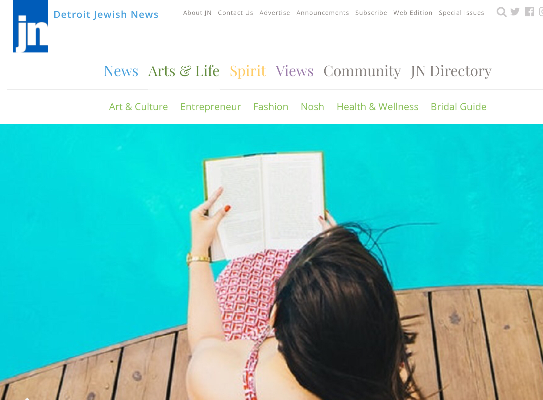 "The Detroit Jewish News Features The Lost Family On Summer Reading List - Thank you to The Detroit Jewish News for recommending The Lost Family as a summer must-read! (We'd also love to take a dip in that pool & investigate the section called ""Nosh."") To read the whole list, please click HERE."
