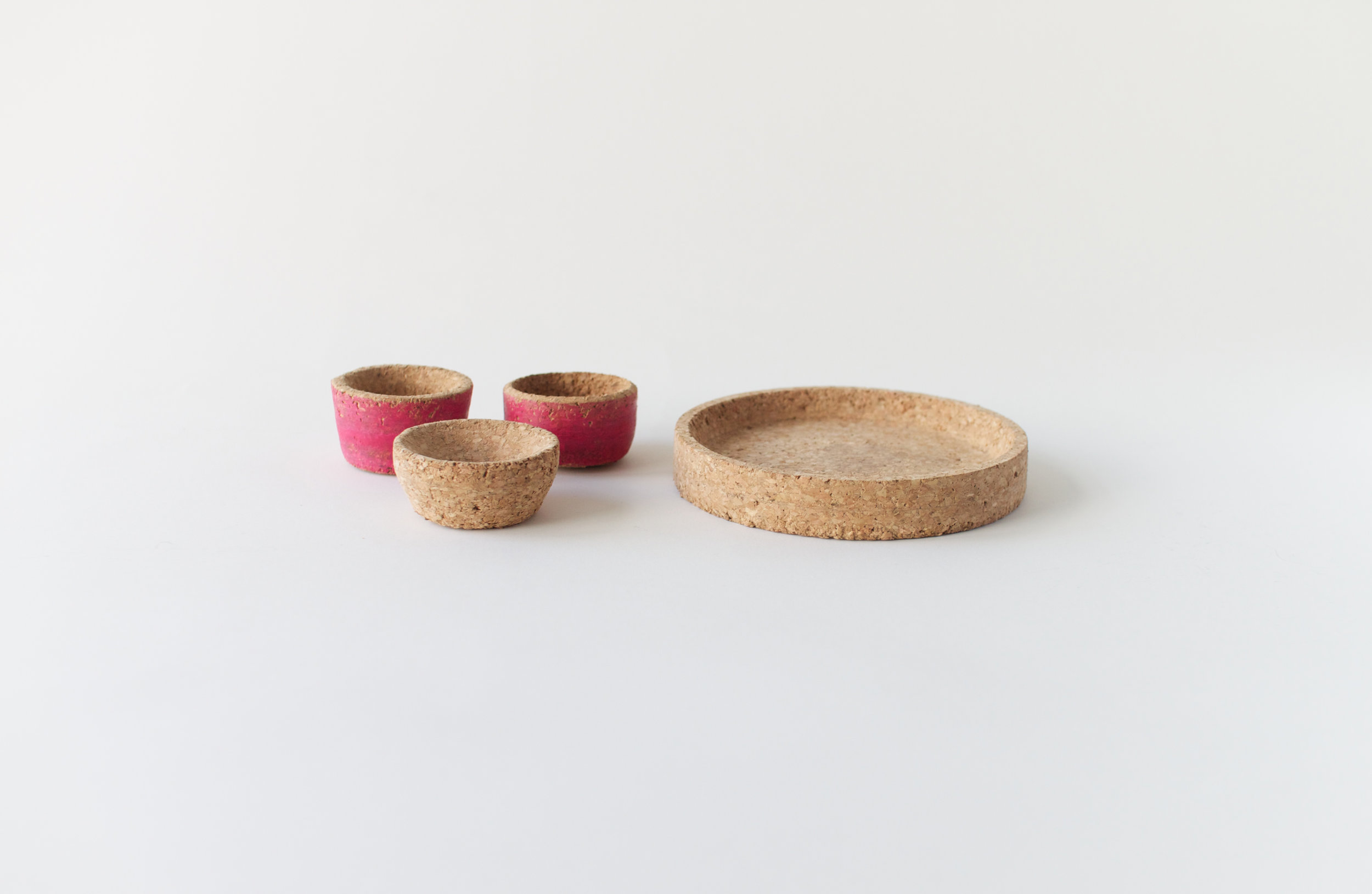 Blender-turned cork pinch pots, wax crayon finished