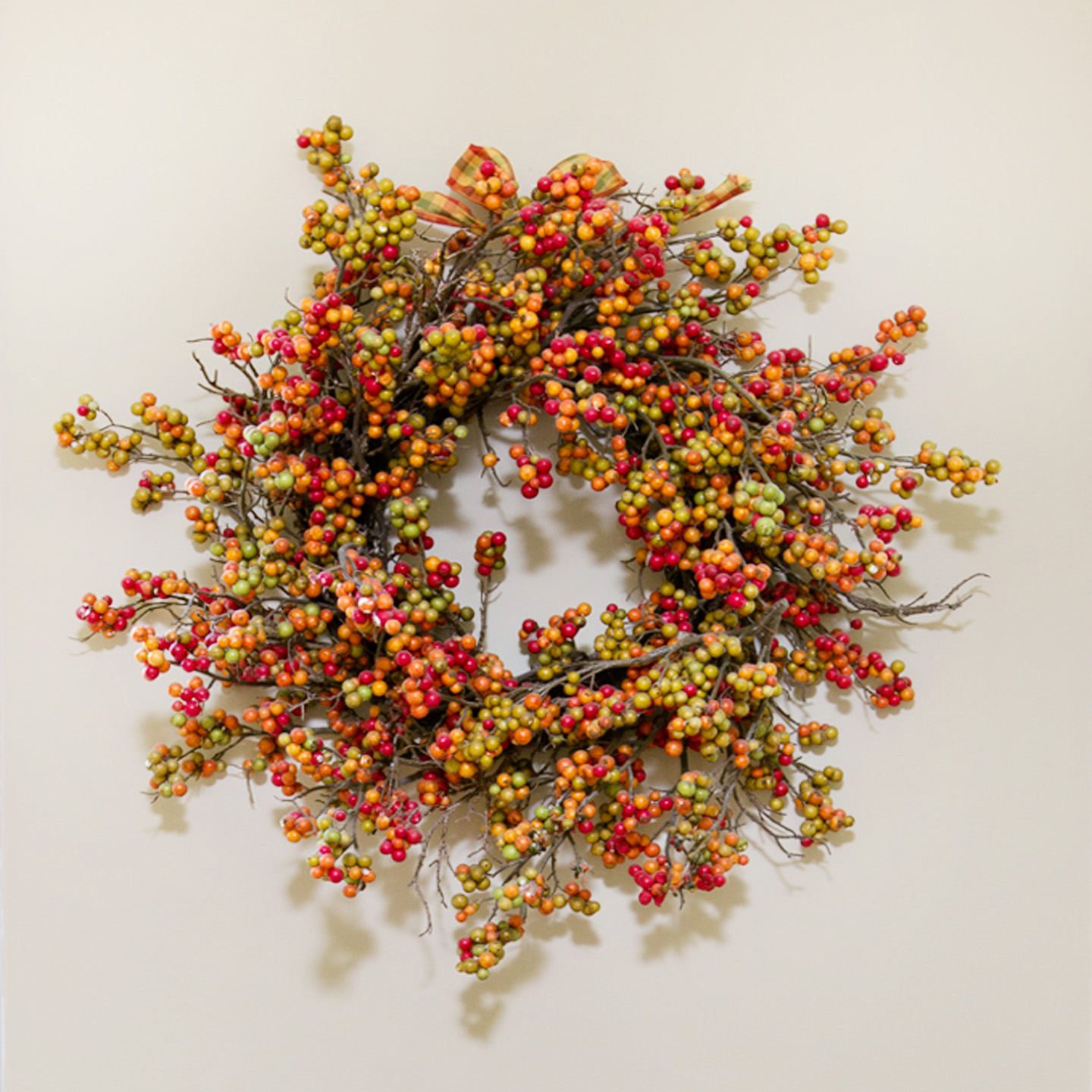 orange, red, green and brown wall wreath for autumn  home decor