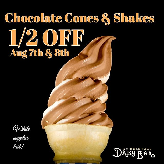 Today and tomorrow only, all chocolate cones and shakes are 1/2 off!! 🤘🏽