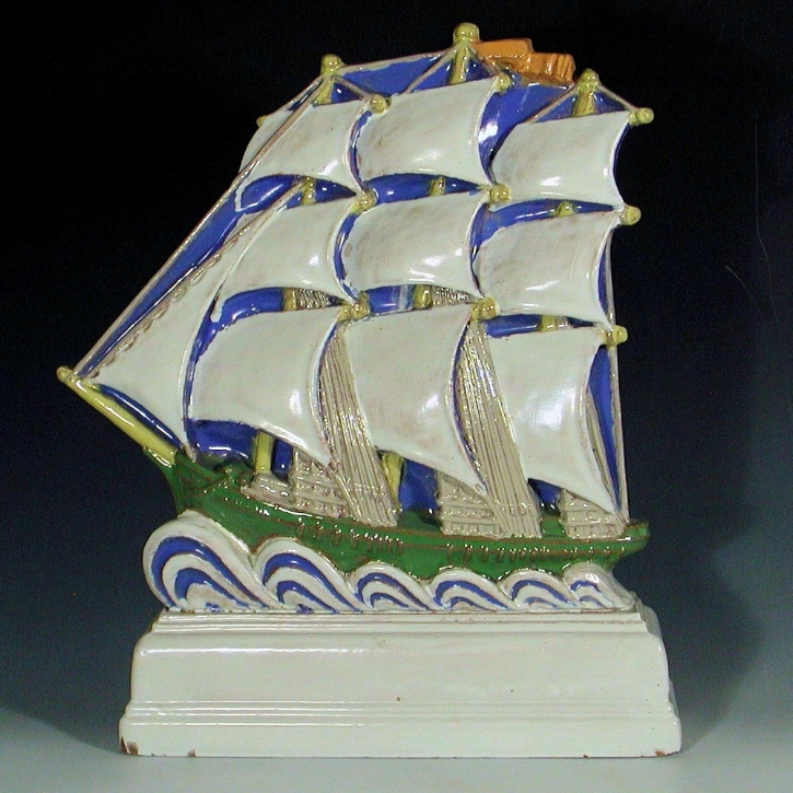The galleon by harold stabler C 1925 in red  architectural faience (20 inches high) became an unofficial symbol of the pottery  (hayward and atterbury)