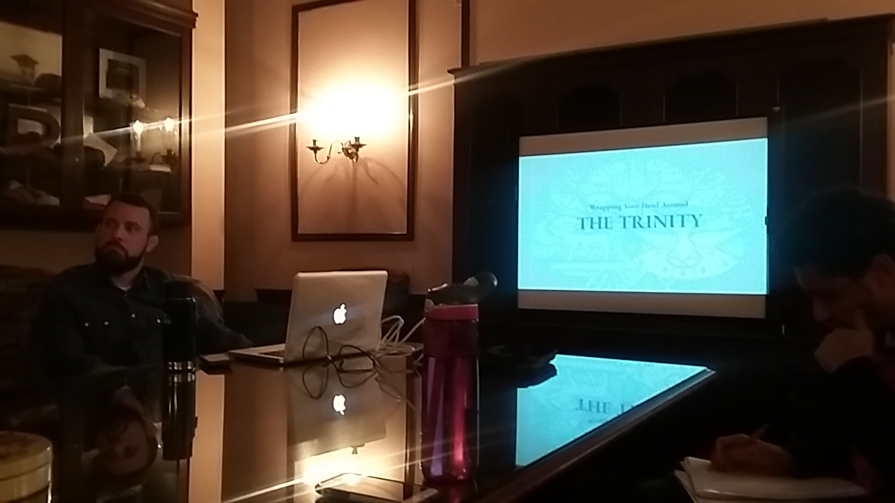 Ratio Christi Director Steven DiSebastian gives presentation about the Trinity during February 8th club meeting.