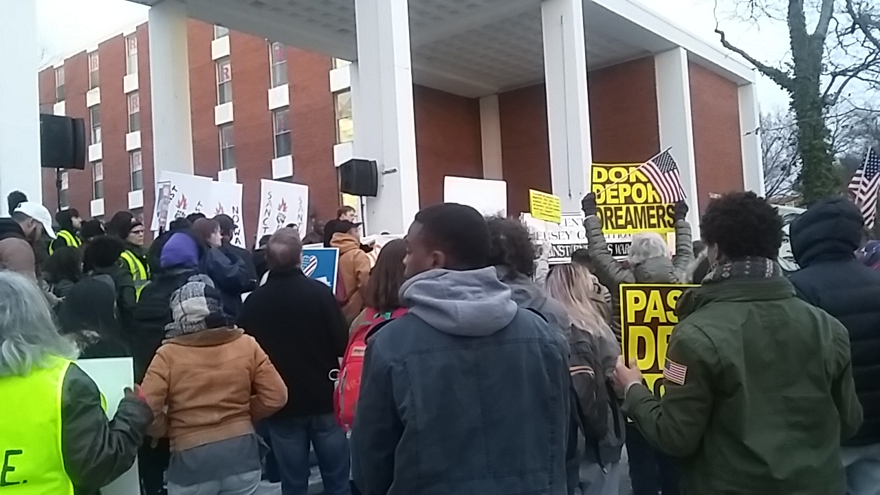 """Students Demand a """"Clean Dream Act"""" Outside of Brower Commons"""