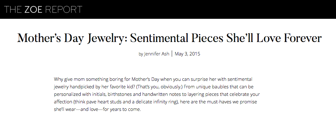 Established Jewelry Editorial Press, The Zoe Report