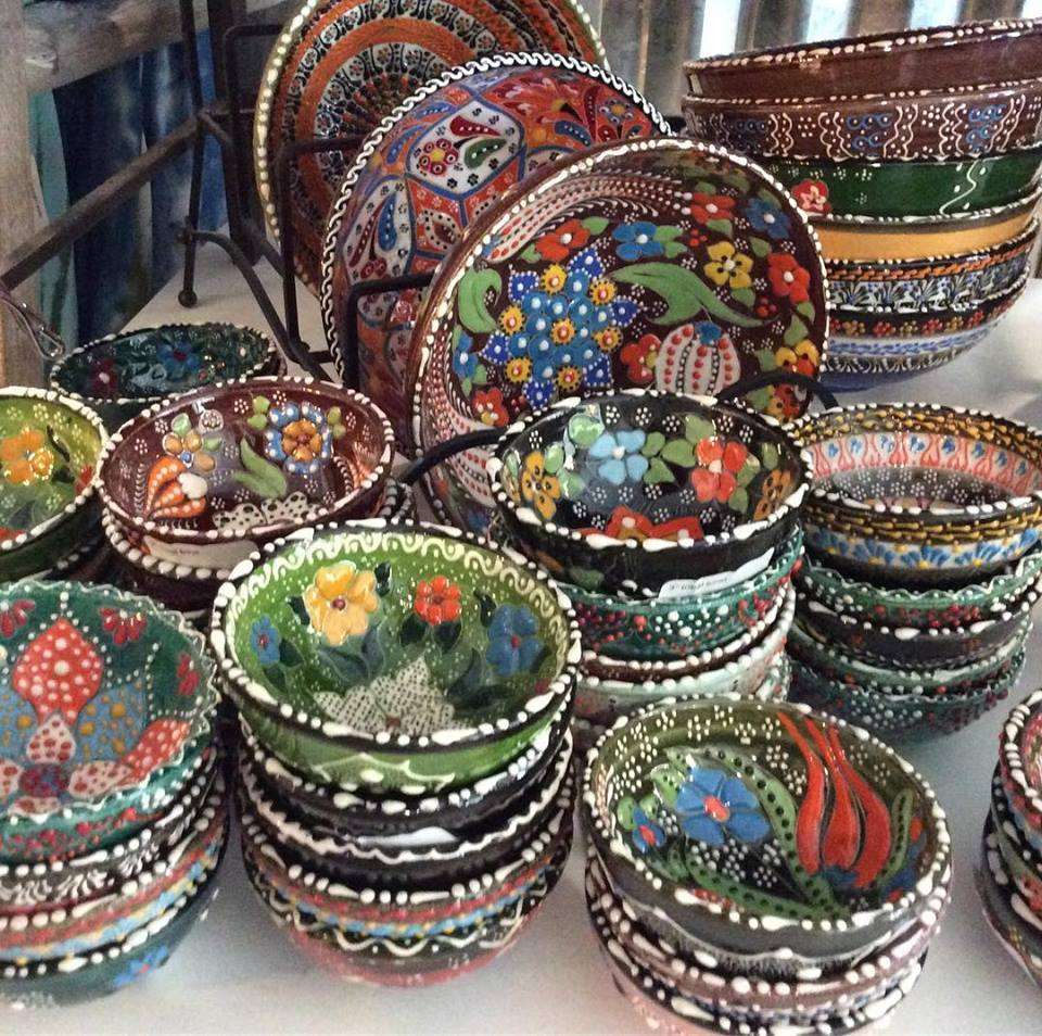 We love these beautiful hand painted pottery bowls! Each bowl is one of a kind and signed by the artist...it's hard to pick just one!