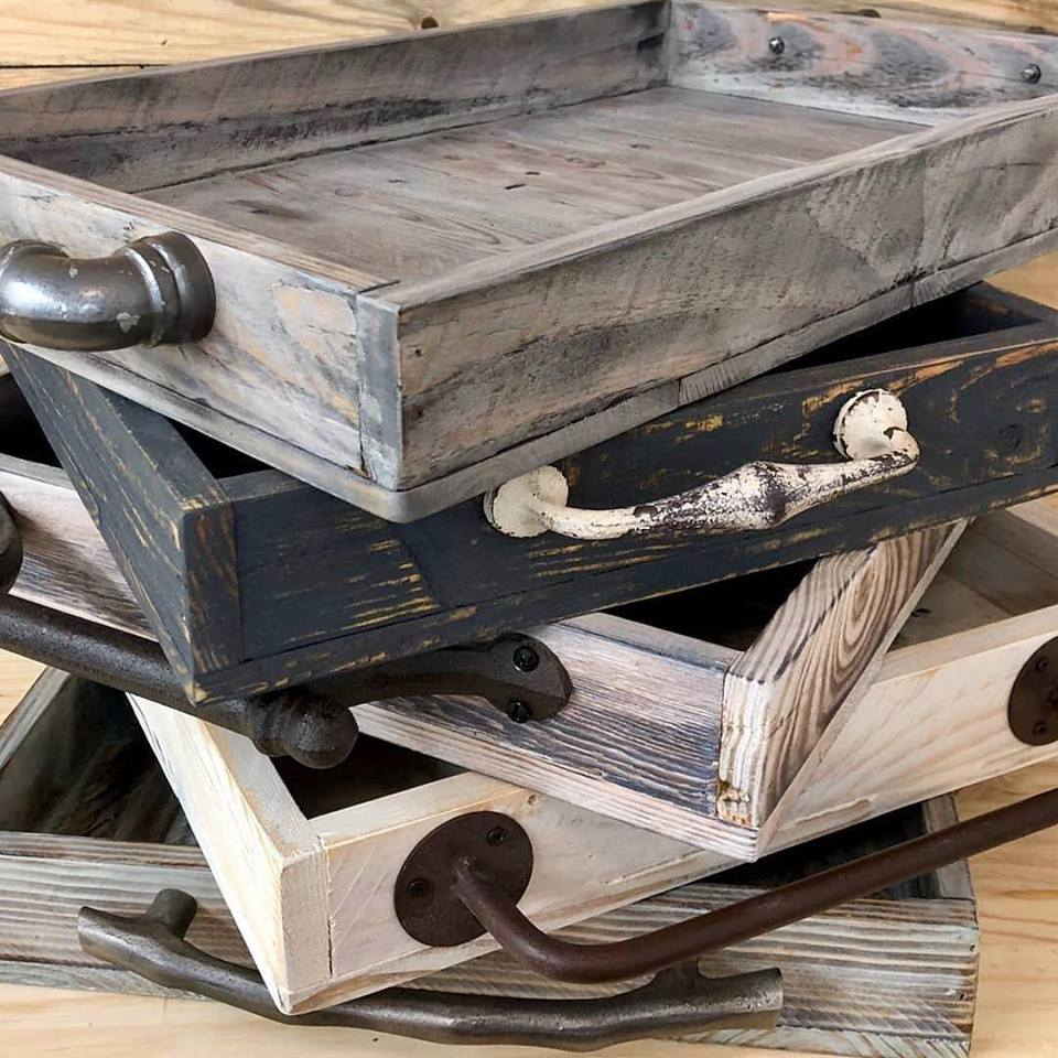 We love local vendor Buona Terra Woodworks! Beautiful handmade trays, napkins holders, and wine & beer caddies. They use locally sourced reclaimed wood and donate 10% of net proceeds to Deep Well.