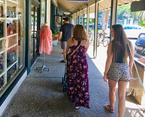 Visitors stroll around Coligny Plaza shopping and enjoying an afternoon in Hilton Head Island.