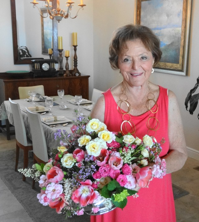 Mom with her flowers 2013