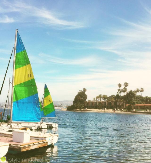 San Diego Getaway Mission Bay and sailboats at Bahia Resort