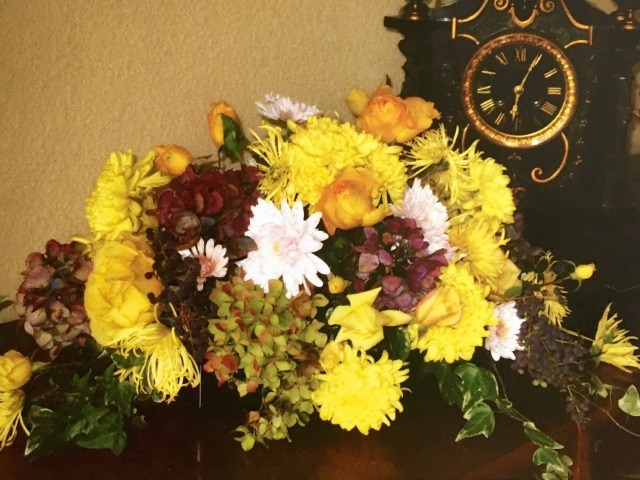 Mother's Day Bouquets and mom's arrangement with yellows and burgandy