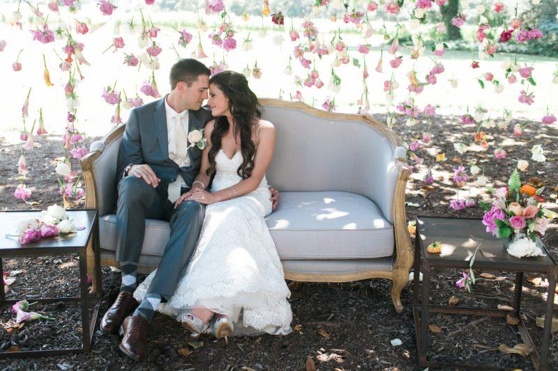wine-country-wedding-jasminestar-theknot-stylemindchiclife The newlyweds celebrating in the vineyard