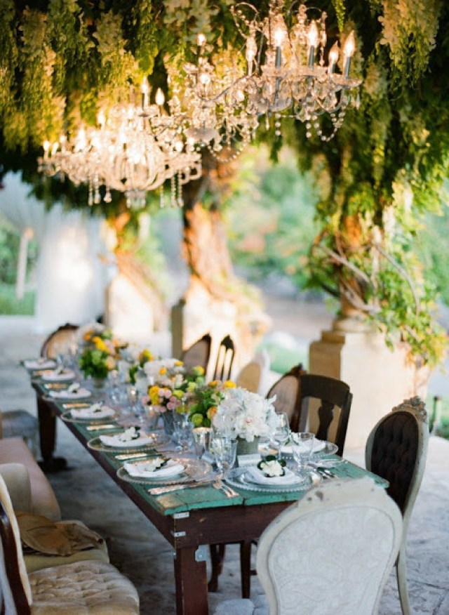 Chandeliers from the vines over the table