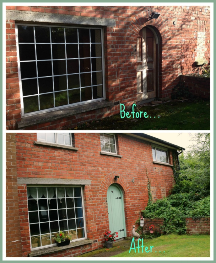 Before and After.....  We also put in this new window as the one before was broken and added a new sensor light. :)