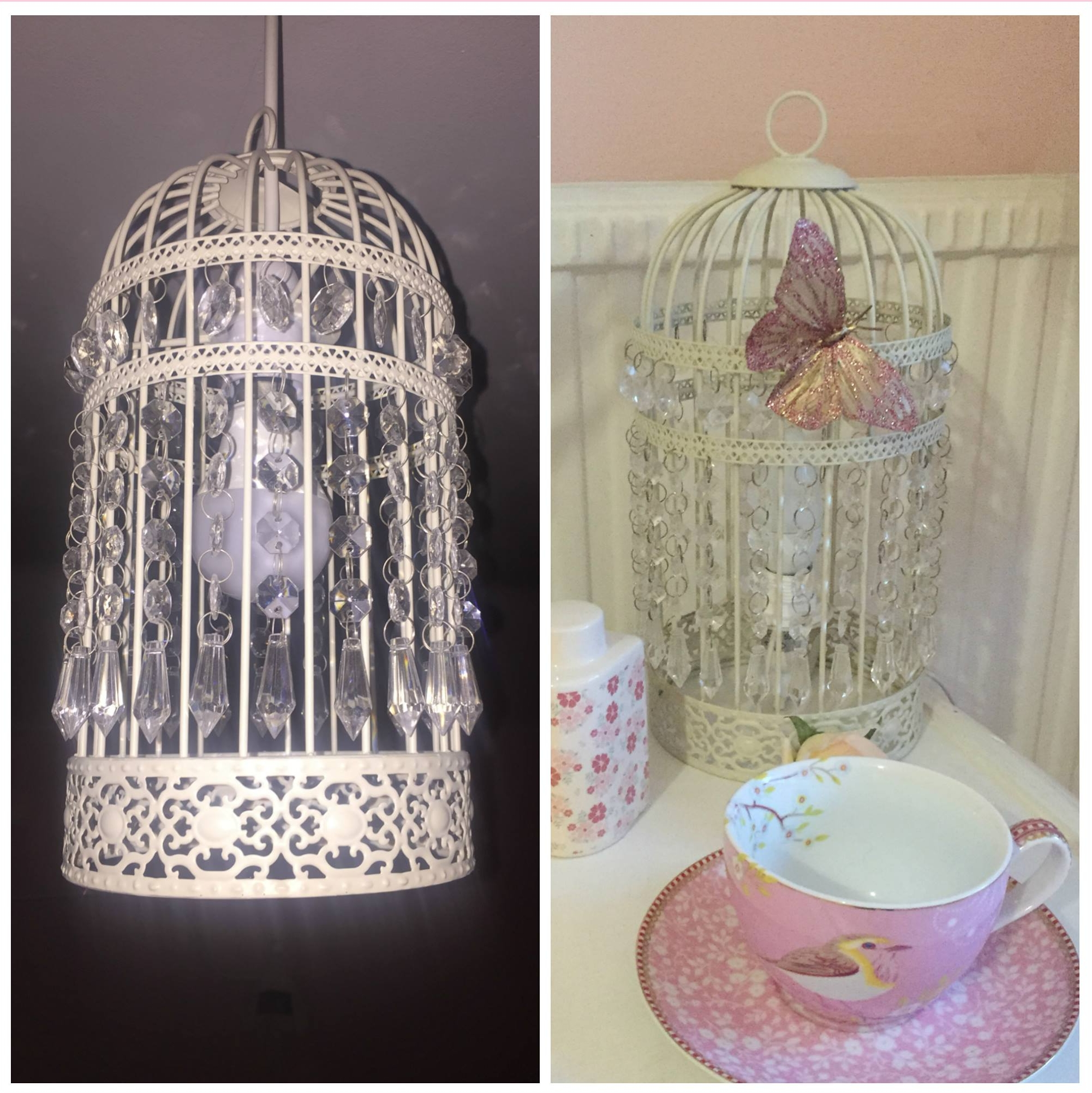 Birdcages lights links and prices:  Bird Cage Easy Fit Pendant £18.99 Homebase    Bird Cage - Table Lamp - Cream £16.99 Homebase