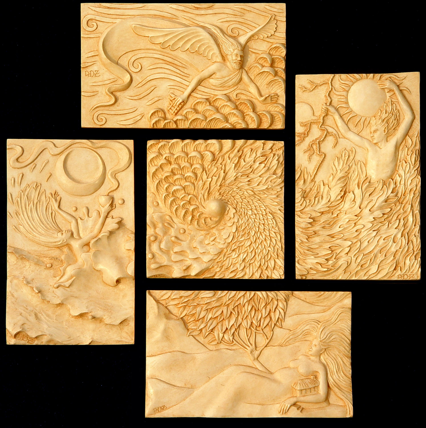 "Five individual plaques: each can stand alone. These are my castings, finished in a ""bone"" color."