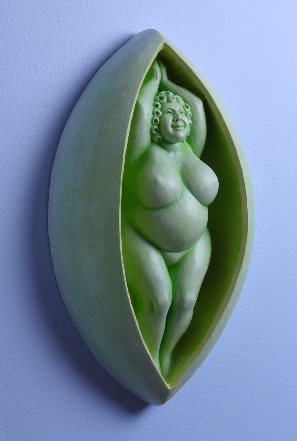 """Though she's sometimes called the """"Pea-pod Lady"""" to avoid offending delicate sensibilities,the shape of her shell is the reference you think it is."""