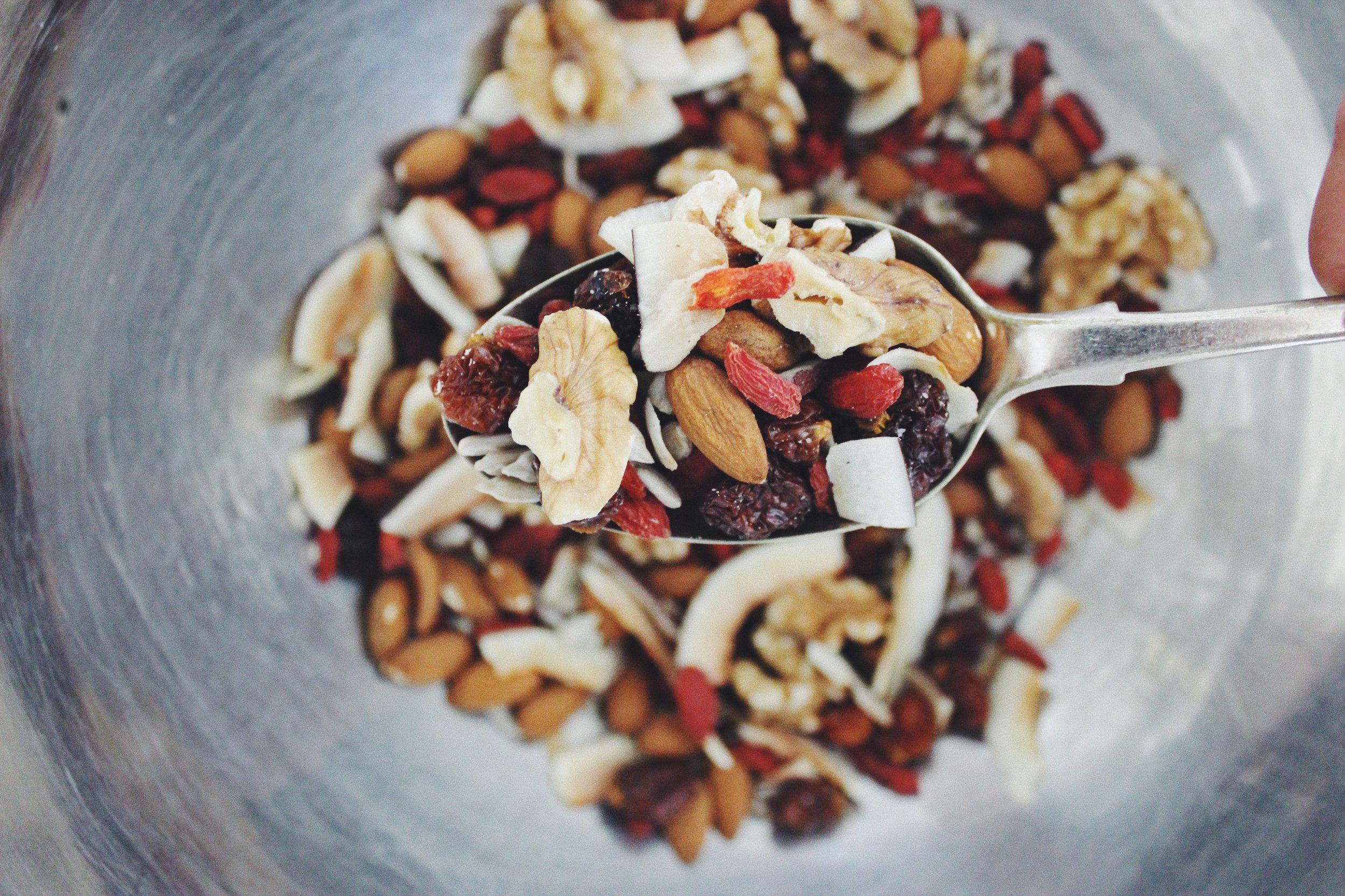 Walnuts, Almonds, Coconut, Sunflower Seeds, Inca Berries + Goji Berries