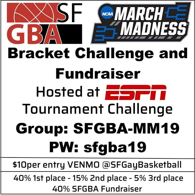 Get in on the #marchmadness action with @sfgba and @espn! Pay $10 via Venmo and fill out your bracket by TONIGHT at http://fantasy.espn.com.