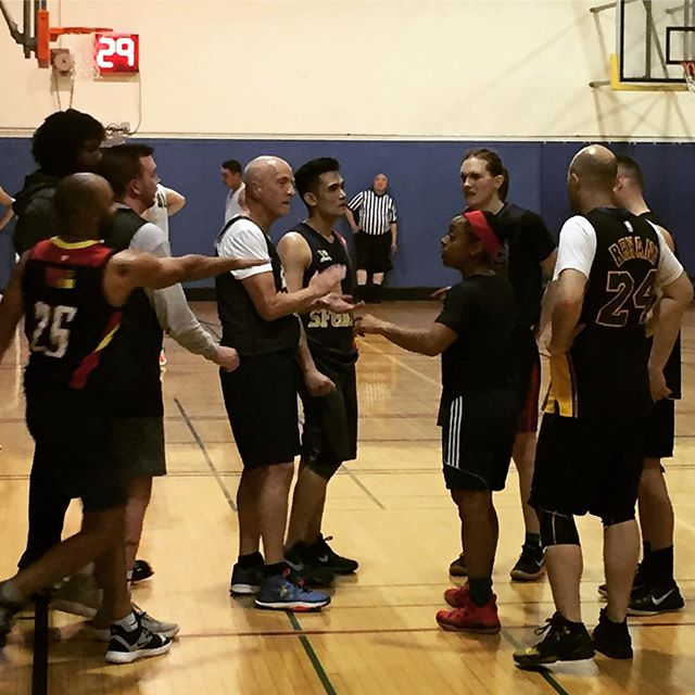 First @sfgba playoff game of spring 2019 season: Team Kim vs. Team Chris! #gaybasketball #lgbtqsports #sanfrancisco #castrodistrict #🏀