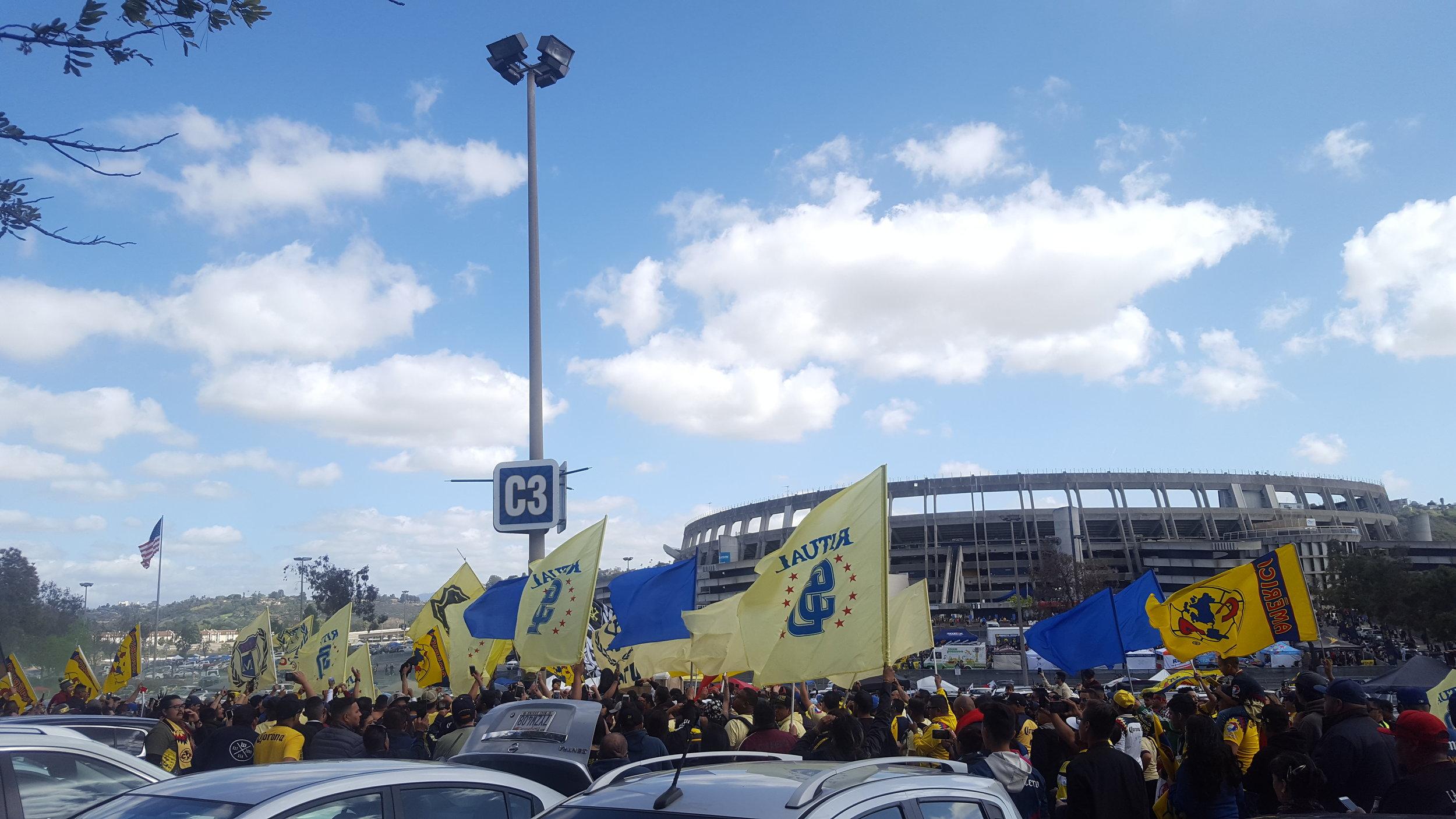 Club America fans outside of SDCCU Stadium