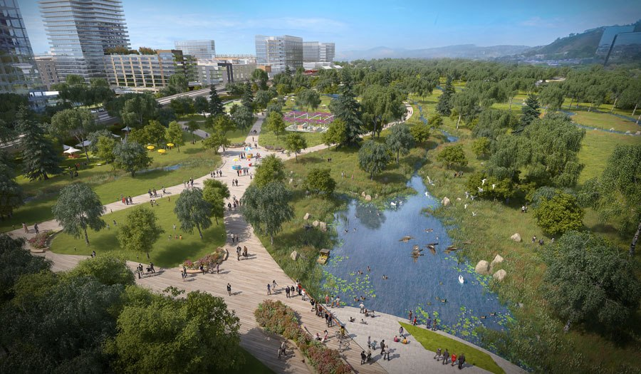 Detailed view of the San Diego River Park within SoccerCity