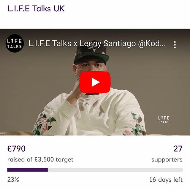 Guys were getting there! Help us put more money into @lifetalksuk so we can hold more amazing events and with great influential people! Every pound helps!