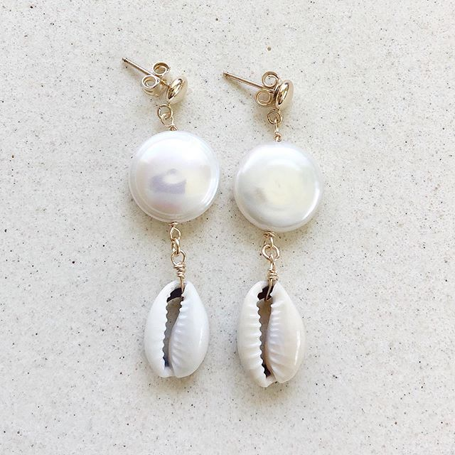 """Shoreline"" Pearl Coin with Cowrie Shell Hang Earring  Available in 14K Gold Vermeil and Sterling Silver"