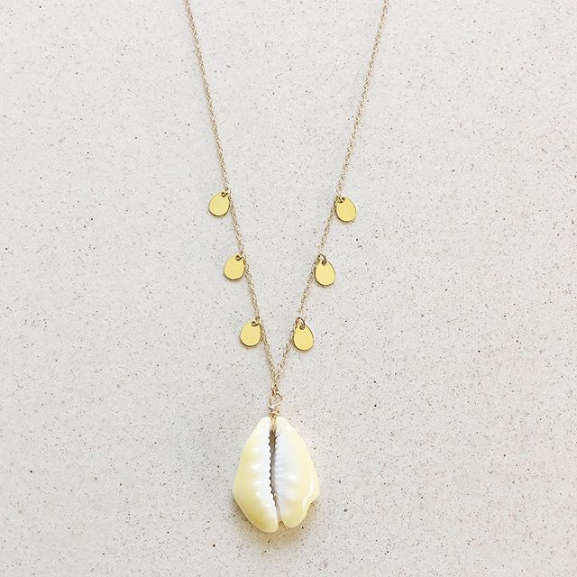 """Shelly""  Cut Money Cowrie Shell with 14K Gold Vermeil Coins Necklace 🐚  Available in Sterling Silver  length 16 in with extender"