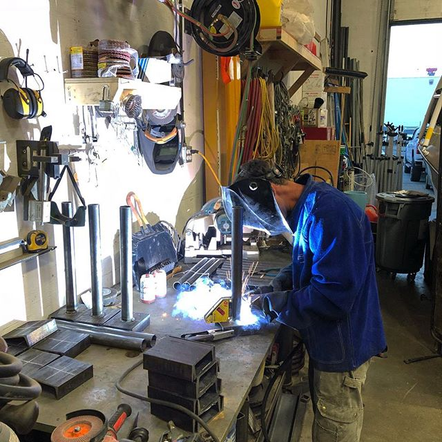 Big D welding up some custom jacking supports! #gravityconstruction #districtofnorthvancouver #welding