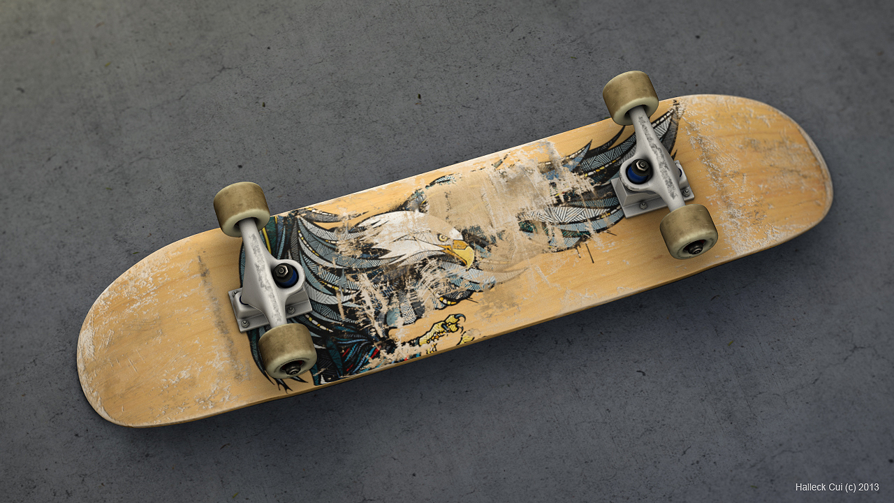 A skateboard, combining scratches from one board, merging with an eagle graphic from another.
