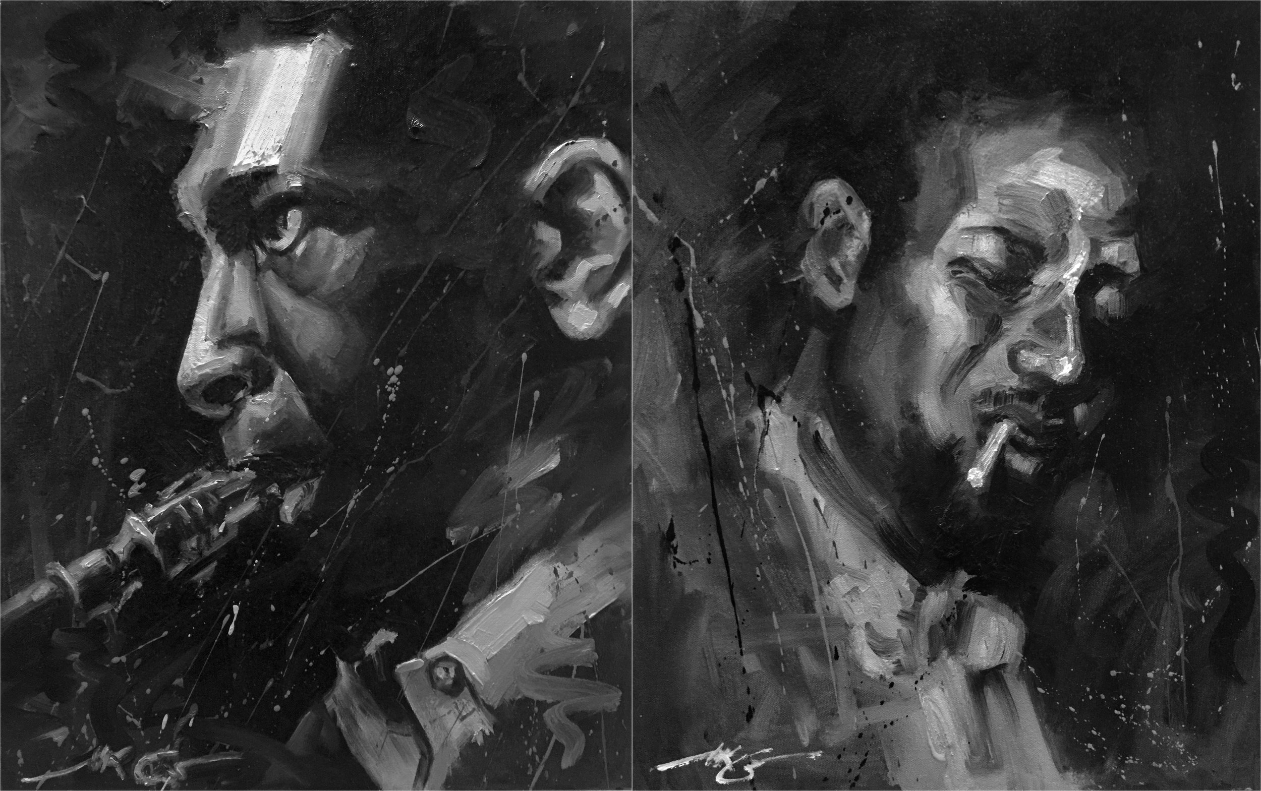 "John Coltrane (left) & Thelonious Monk (right) Both 20"" x 16"" Both Oil on Canvas Both Sold"
