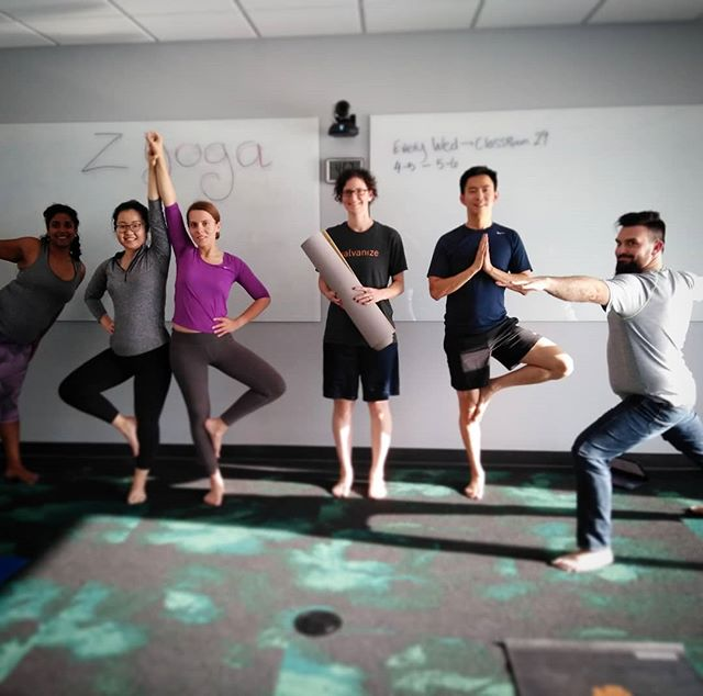 Some rad #zillowseattle #yogis  We practice every Wednesday. They come in stressed. They leave relaxed  #corporatewellness . . #corporateyoga #workplaceyoga #workplacewellness #relax #getfit #workplacefitness #seattlelife #zglife #zillowgroup #zillow