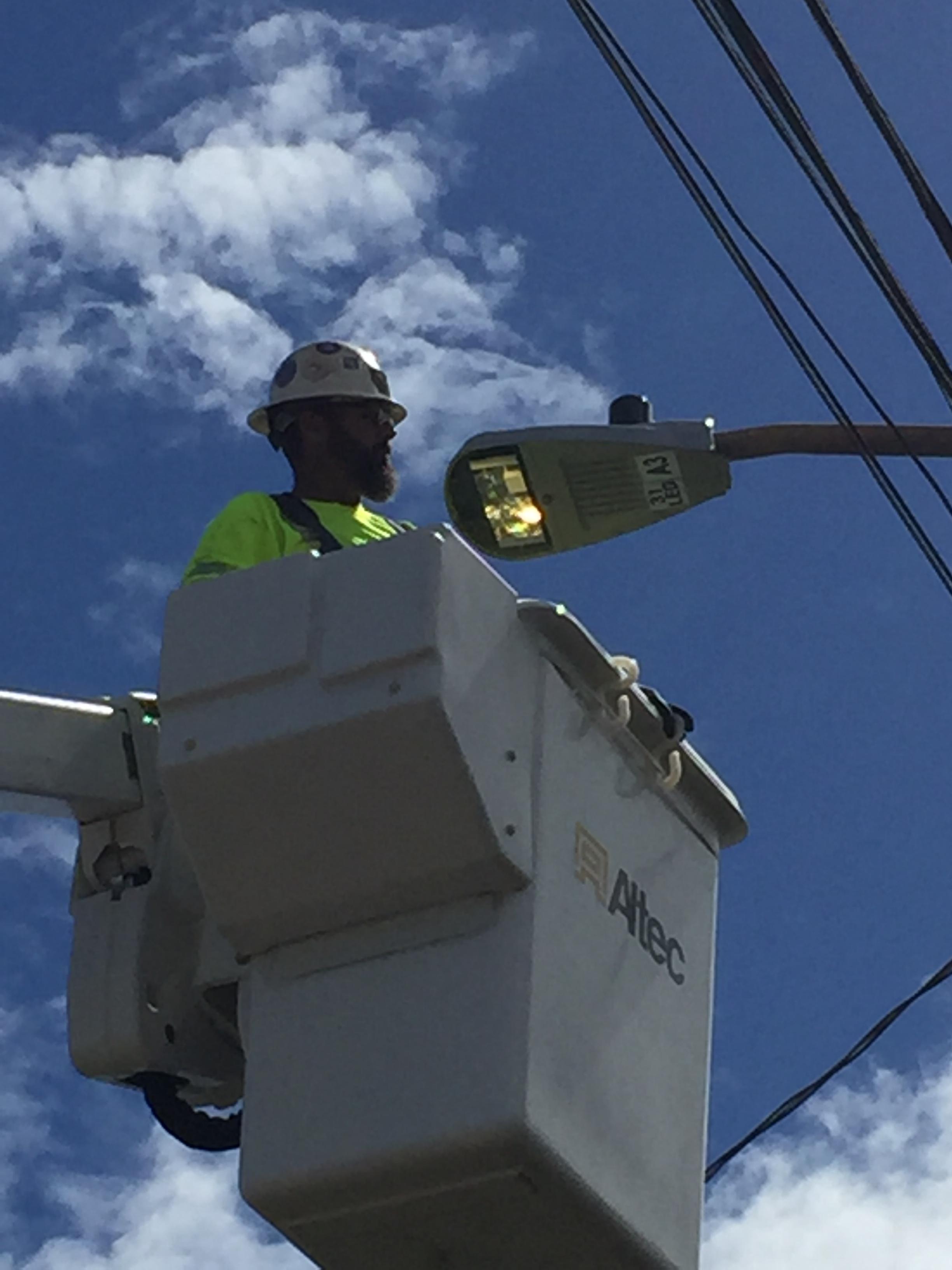 Testing New LED Street Light on Hukilau Loop.JPG