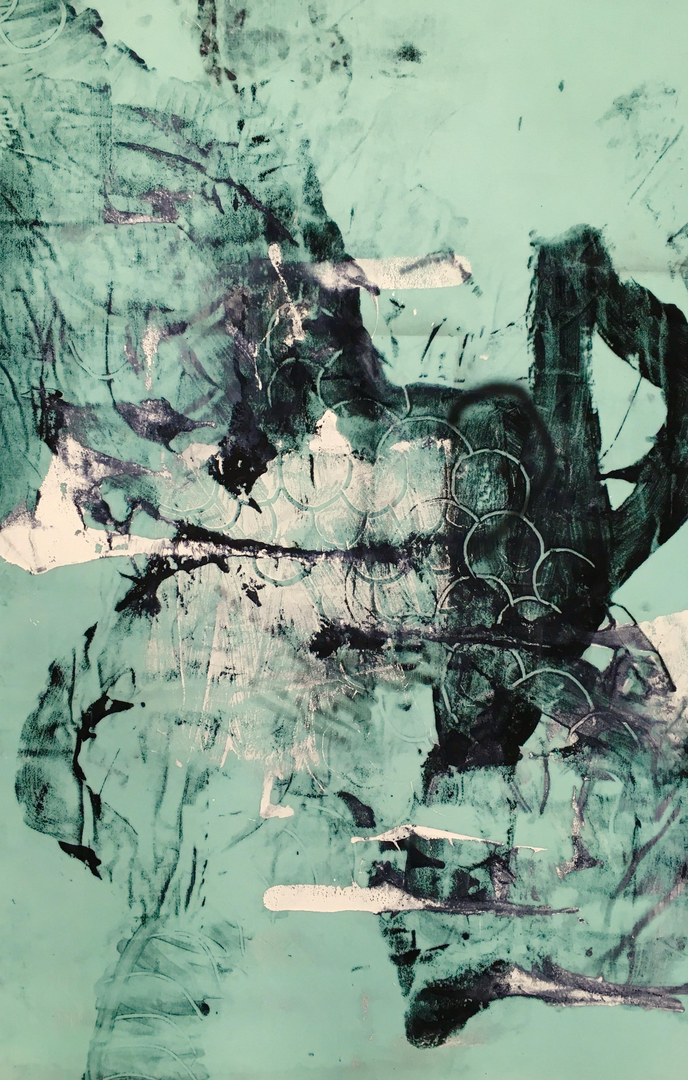Untitled (Blue Fleece)   Acrylic on fleece 72 x 48 in