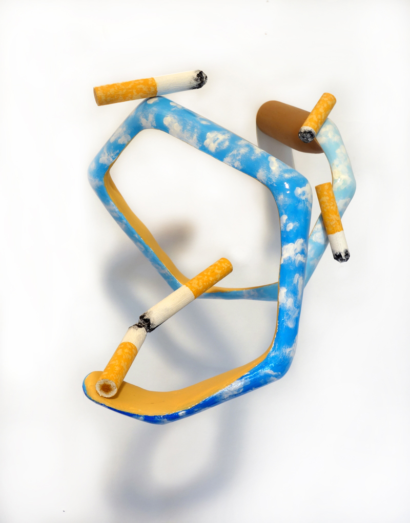 5 Cigarettes Skydiving Together,  2018  Wood, acrylic paint, nail polish, shoe lace 6 x 7 x 8 in