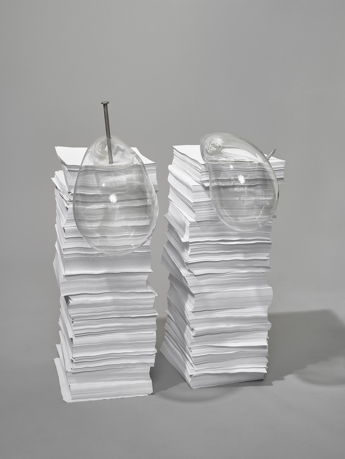 Watch out   Glass, paper & nails 36 x 20 x 16 in