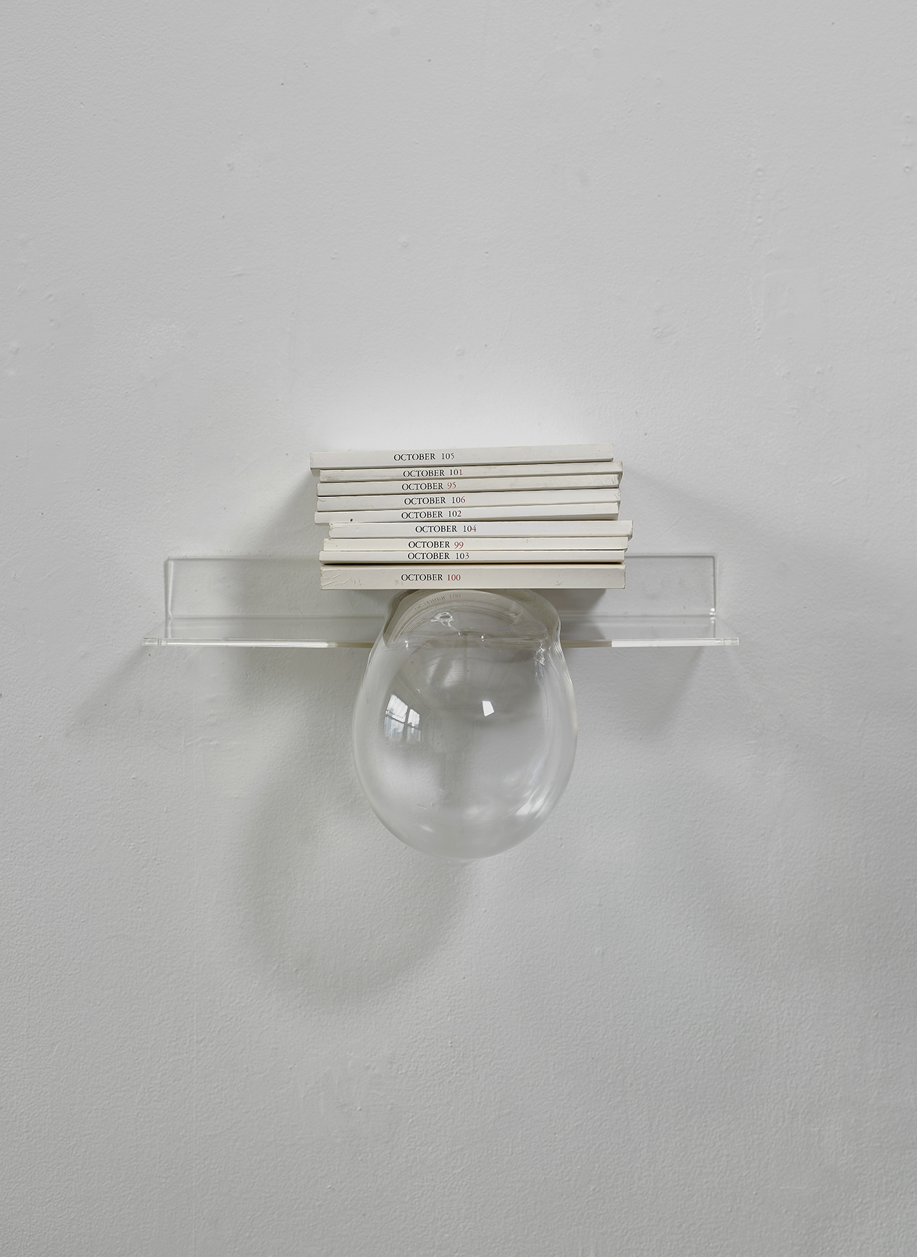 Burden of knowledge   Glass, plastic shelve, printed periodicals 12 x 12 x 10 in