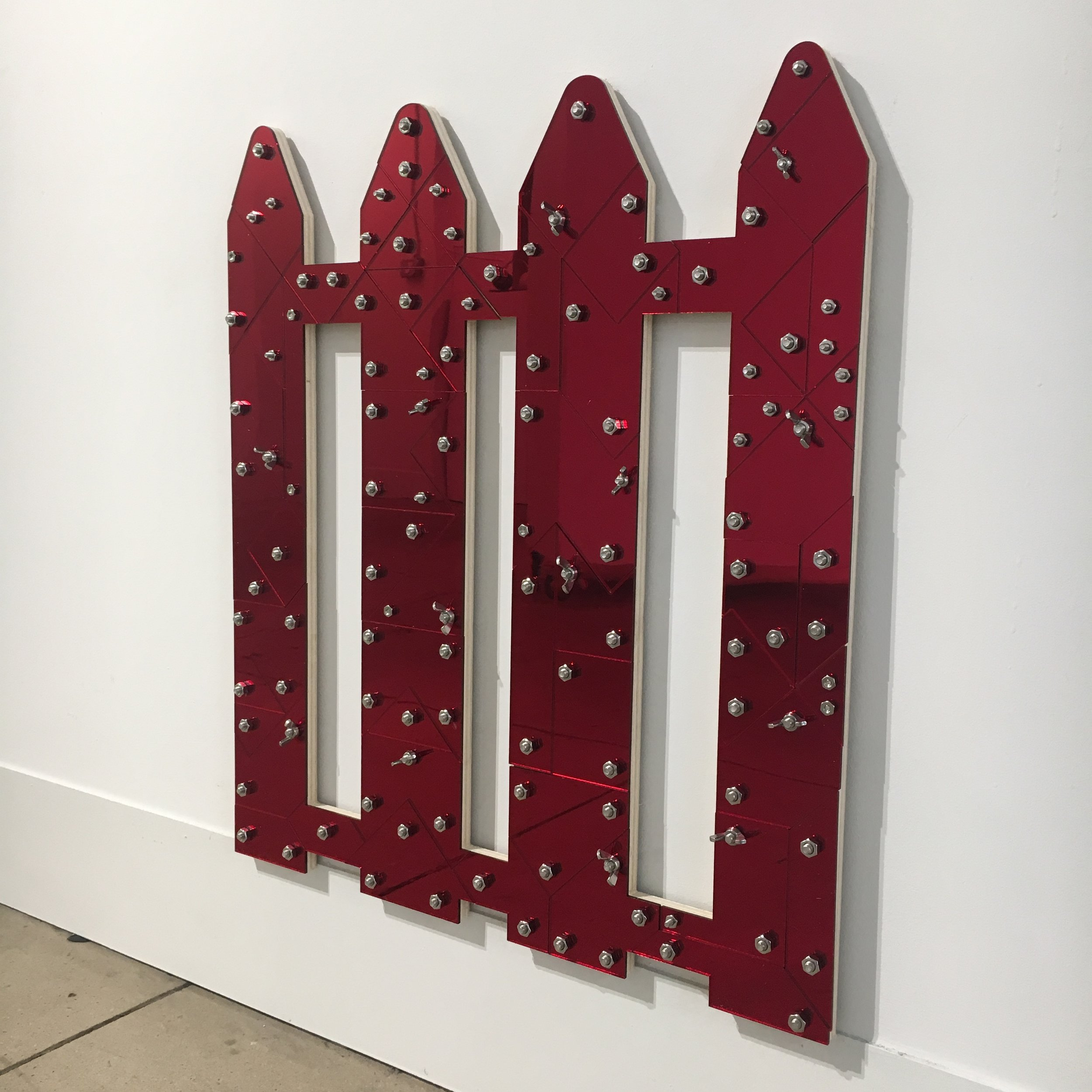 Red Line (Blackamoors Collage #172)   Plexiglass, Mirror, Stainless Steel and red oak board 24 x 21 1/2 in