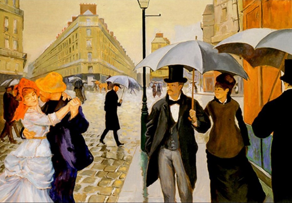The Way We Were (after Caillebotte, Renoir)   Oil on canvas 30 x 40 in