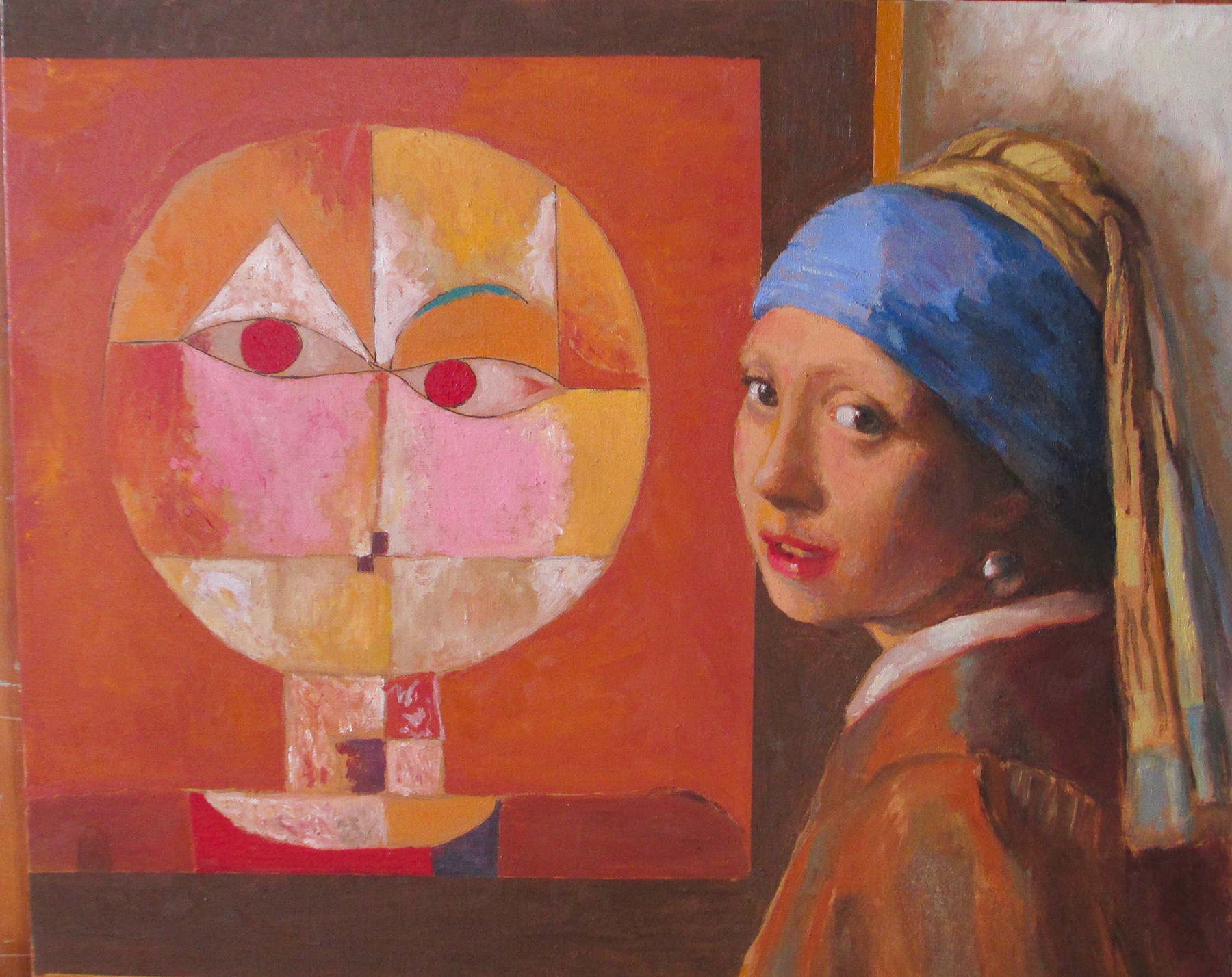 Docent at Basel Art Museum (after Klee, Vermeer)   Oil on canvas 20 x 24 in
