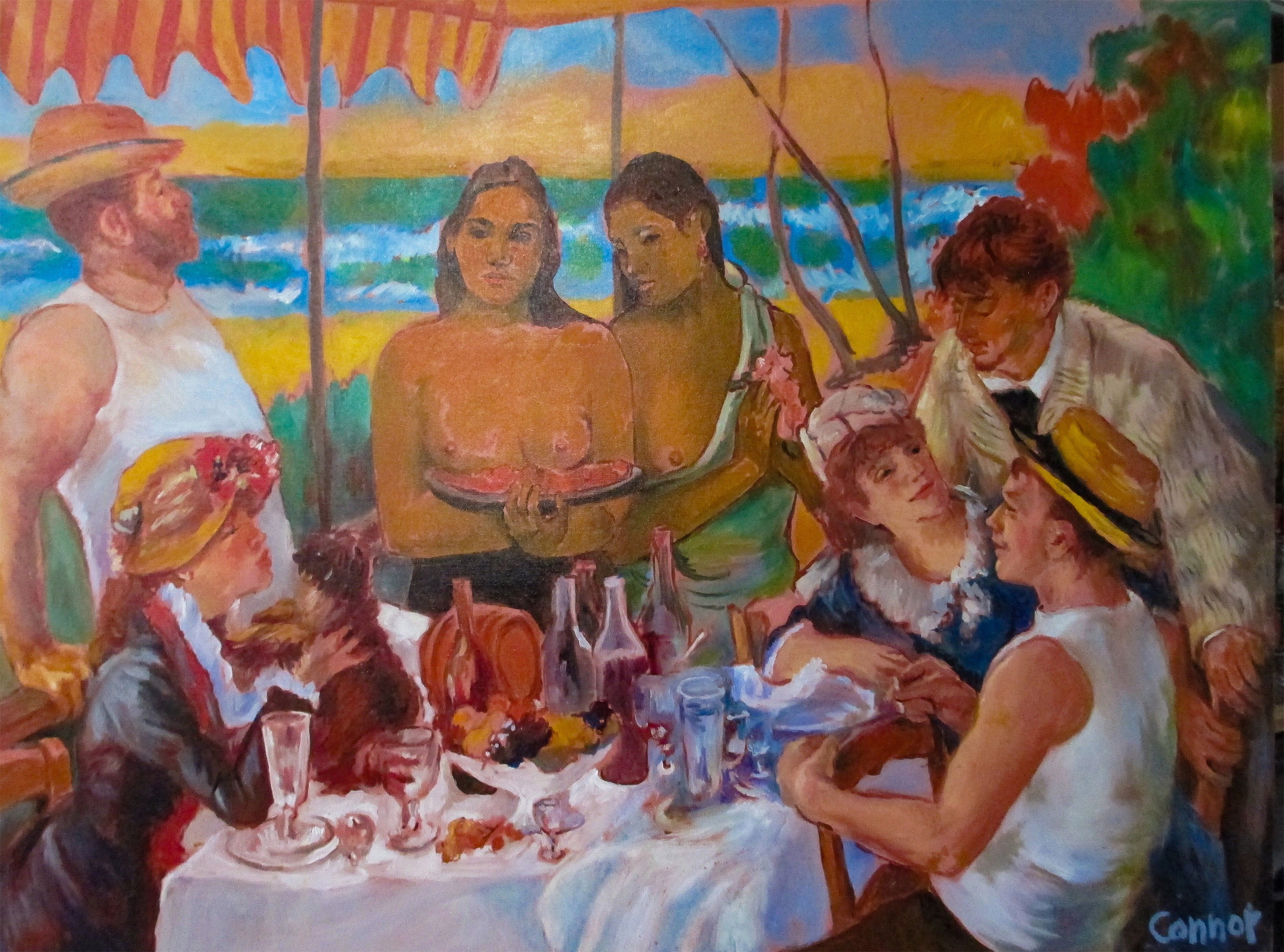Club Tahiti (after Gauguin, Renoir)   Oil on canvas  30 x 40 inches